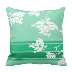 White Floral Silhouettes on Green Outdoor Pillow Outdoor Throw Pillows, Decorative Throw Pillows, Silhouettes, Floral, Green, Accent Pillows, Flowers, Silhouette, Flower
