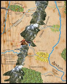 Don Hitchcock's Map of Frodo's Journey from Rivendell to the Pass of Redhorn Gate, the Mines of Moria, and Lothlorien from the Lord of the Rings books by J.R.R. Tolkien.