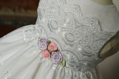"""White Eyelet Lace Broderie Anglaise Dress for 18"""" American Girl Doll Clothes - Custom Handmade Easter"""