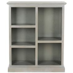 The low-slung Maralah bookcase is a clean-lined classic. With fixed shelves for books, magazines and collectibles, this elm wood bookcase with ash grey finish can be used alone or in multiples to create an interesting transitional library wall.