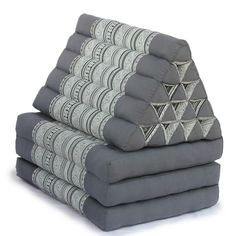 King Triangle Pillow Three Fold Batik (Grey)-FP272HP22
