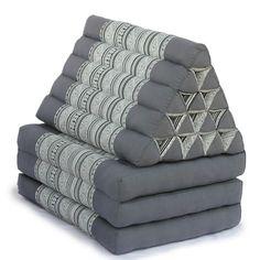 King Triangle Pillow Three Fold Batik (Grey) - Triangle Pillow Three Fold - Thai Triangle Pillow