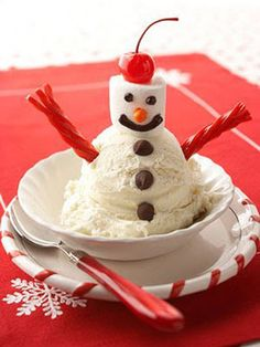 Fun snack to make with kids on a snow day! Snowman ice cream sundae!!