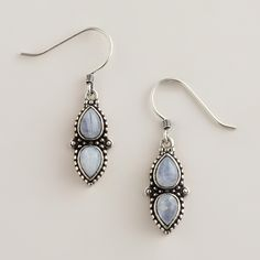 Silver Moonstone Drop Earrings | World Market