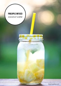 Pineapple infused coconut water...pineapple, coconut water, 2 TB fresh pineapple juice, 2 mint leaves...