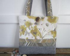 Large Yellow bag, Grey tote handbag, Grey purse, Travel tote, Handmade Fabric tote bag, Womens shoulder handbag, Fashion handbag, Large bag
