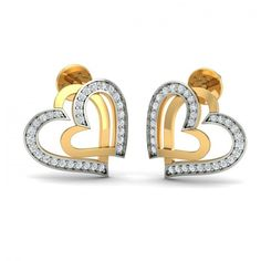 Overlapping heart shaped frames, both studded with round diamonds in parts. This classy stud earring is perfect for your everyday styling needs. Go ahead & customize it with options in Gold Purity (18K, 14K), Diamond Grade (SI-HI, VS-GH, VVS-GH) & Metal Colour (Yellow, White, Rose) of your liking. Create your own unique jewelry. #Nancy #Heart #Stud #Diamond #Gold #Earrings