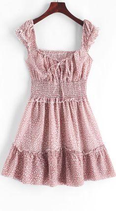 Smocked Printed Sleeveless A Line Dress Cute Dresses, Casual Dresses, Mini Dresses, Denim Vintage, Mode Rock, Mini Robes, Summer Outfits, Summer Dresses, Mini Vestidos