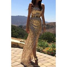 $28.13 Sexy Strapless Sequin Embellished Floor-Length Dress For Women
