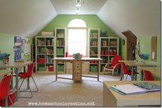Pin 7 #BJUPress #organizedhomeschool The ideal homeschool room... cozy, soothing color, lots of organized space.