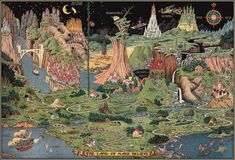 How To Draw Reproduction-Land of Make Believe by Jaro Hess 1930 - The Land of Make Believe by: Jaro Hess Date: Original Size: 25 x 36 inches - Vintage Map Print Vintage Maps, Vintage Wall Art, The Mysterious Island, Pictorial Maps, Fantasy Map, Fantasy City, Make Believe, Fairy Tales, Michigan