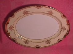 """Noritake China """"Goldier"""" #89494 Ham Platter. This Ham Platter is 13 3/4"""" Long by 10 1/4"""" Wide. It is Rim Shape with Gold Trim. This is one of the Most Beautiful Heavy (Gold) patterns by Noritake. The Replacement value of this Ham Platter is $50.00."""