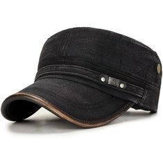 Men/'s New Retro Faux Leather Plat Military Patrol Cadet BaseBall Cap Outdoor Hat