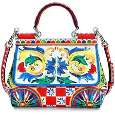 Dolce & Gabbana Sicily Small Maiolica-Print Satchel Bag (658.185 HUF) ❤ liked on Polyvore featuring bags, handbags, multi, floral purse, studded purse, floral satchel, floral print handbags and studded satchel handbag