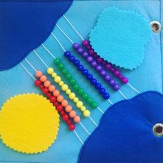 Sensorial rainbow, made of colorful beads :) Baby Quiet Book, Quiet Books, Book Pages, Handmade Toys, Cake Pops, Rainbow, Beads, Etsy, Colorful