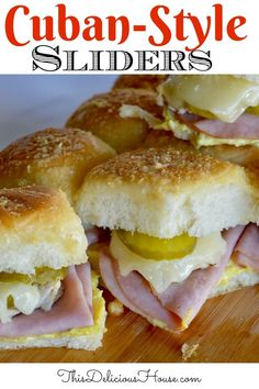 Ham and cheese sliders done cuban style with Swiss cheese, pickles, and mustard. Don't miss these delicious cuban pull apart sliders on Kings Hawaiian rolls. #sliders #cubansliders Easy Holiday Recipes, Easy Brunch Recipes, Slider Sandwiches, Sliders, Barbecue Recipes, Grilling Recipes, Hawaiian Bread Rolls, Brunch Ideas For A Crowd, Easy Italian Meatballs