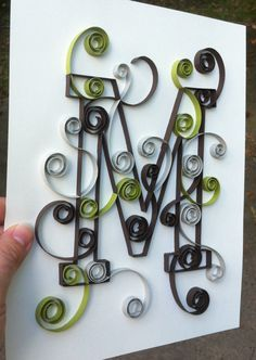 Quilled Monogram 8x10 M by Allthingsmadebykelly on Etsy, $20.00