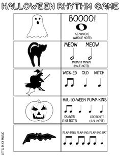 The Scary Witch Halloween Rhythm Game Let's Play Music : Halloween Rhythm Sheet - Match the Halloween character to the musical note value in this fun, educational game! Preschool Music, Music Activities, Teaching Music, Halloween Songs, Halloween Series, Halloween Ideas, Music Lesson Plans, Music Lessons, Rhythm Games