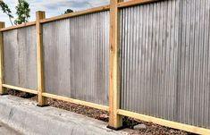 coastal privacy fence ideas - Google Search Sheet Metal Fence, Corrugated Metal Fence, Metal Fence Posts, Metal Fence Panels, Steel Fence, Steel Panels, Roof Panels, Metal Fences, Wooden Fences