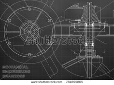 Mechanical engineering drawing. Black background. Grid #bubushonok #art #bubushonokart #design #vector #shutterstock #technical #engineering #drawing #blueprint  #technology #mechanism #draw #industry #construction #cad