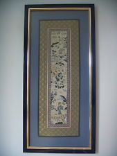 CHINESE QING DYNASTY SILK EMBROIDERY PANEL C1880 MOUNTED & FRAMED (CEP01)