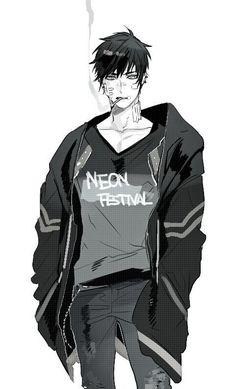Anime - boy - black and white - smoking - jacket - messy hair - arte manga, Manga Boy, Anime Boys, Manga Anime, Hot Anime Guys, Anime Art, Dark Anime, Boy Drawing, Manga Drawing, Drawing Pin