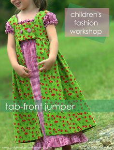 """Free pdf pattern for tab-front jumper.  With """"fancy"""" fabrics & trim, this could become a princess costume."""