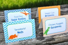 Dinosaur Birthday Party Food Labels - Dinosaur Theme Birthday Party Buffet Labels - Dinosaur Birthday Party Decorations - Set of 12 by sosweetpartyshop on Etsy https://www.etsy.com/listing/196053014/dinosaur-birthday-party-food-labels