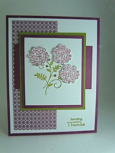 Sweet Summer stamp set with Rich Razzleberry. Homemade Greeting Cards, Homemade Cards, Simple Greeting Card Designs, Memory Box Cards, Old Stamps, Artist Trading Cards, Card Sketches, My Stamp, Flower Cards