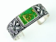 Green Manassa Turquoise Bracelet by Andy Cadman, Mans Turquoise Bracelet for $795.00   Native American Jewelry