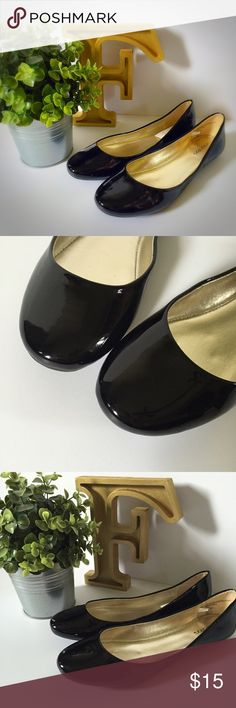 """Black Patent Ballet Flats With upper material made from durable 100% polyurethane and the outsole crafted from 100% rubber for a delicate and flexible fit, these slip-on Ballet Flats combine fashioned-forward design with the ultimate in wearable comfort. Available in a variety of striking colors with leather lining, a 2"""" heel and a sleek round toe, the Women's Shae Ballet Flats bring a luxurious softness to a chic design that will enhance any ensemble. Xhilaration Shoes Flats & Loafers"""