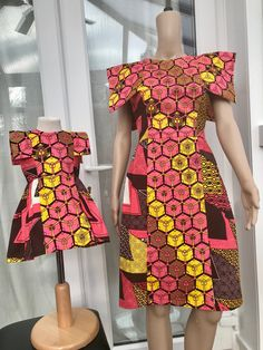 """Excited to share the latest addition to my shop: Mummy and me Ankara dress, African print outfit/ mommadeuk """"Ajike"""" dress/ formal ankara pleat dress for women and kids,Mummy and me. Ankara Styles For Kids, African Dresses For Kids, African Fashion Dresses, Ankara Fashion, Lace Dress Styles, Ankara Dress Styles, African Attire, African Wear, African Print Dress Designs"""