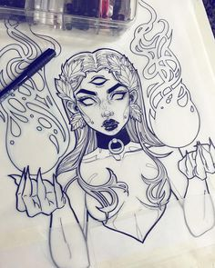 Gwen D'arcy Female fantasy character with flames in palms pencil illustration