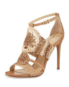 Jenne+Crochet+High-Heel+Sandal,+Tropic+Latte+by+Alexandre+Birman+at+Neiman+Marcus.