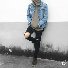 Ripped Jeans, Hoodie and a denim jacket #StyleMadeEasy
