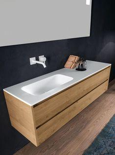Via Veneto Edition 2015 & mobilier design Lavabo Design, Bad Inspiration, Vanity Units, Condo, Wood Accents, Terrazzo, Corner Bathtub, Home Renovation, Wall Design