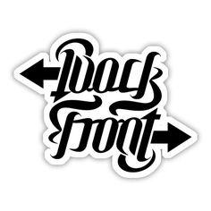"""Back / Front"", rotational ambigram by unterart ambigram design, via Flickr"