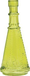 Small Chartreuse Green Vintage Glass Bottle (cone design) by Luna Bazaar. $2.95. Only 6.75 inches tall. Vintage glass style reminiscent of antique medicine bottles. These green colored painted glass bottles are perfect for cut flowers. Mix and match with our many other vintage styles. Not for food use.