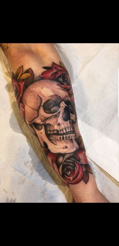 Neo Traditional Skull by @a.gtattoos