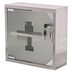 $25 NEW Locking Glass Door Stainless Steel First Aid Medicine Cabinet Bath Storage