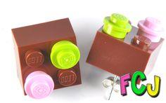 Lego Earrings - Brown, Pink & Lime