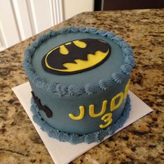 Batman birthday small cake.  Strawberry and vanilla marble with buttercream icing and fondant details. https://www.facebook.com/sweetnsassycakesbyeva