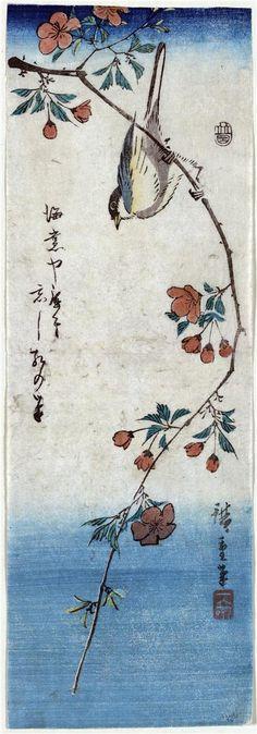 """Small Bird on a Branch of Kaidozakura"" in 1848 by Hiroshige"