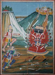 Ramayana: Krishna and Balarama in combat with Ravana. Jaipur, Rajasthan. Circa 1860