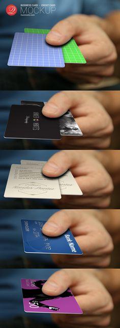 Free Business Card, Credit Card, Hand Mockup.