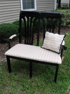 Loveseat bench made from two dining chairs
