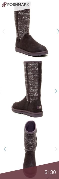 """NIB Camaya Sequin UGGpure Lined Boot Sizing: True to size. If between sizes, order next size down. Color stated charcoal looks more like a brownish purple   - Round toe - Topstitching - Sequin knit shaft  - Pull-on - UGGpure(TM) lining - Approx. 11.5"""" shaft height, 15"""" opening circumference - Approx. 0.5-1"""" platform UGG Shoes"""