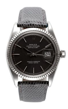 Rolex Stainless Steel And White Gold Datejust With Rare Grey Dial by CMT Fine Watch and Jewelry Advisors for Preorder on Moda Operandi G Shock Watches, Fine Watches, Sport Watches, Cool Watches, Rolex Watches, Simple Watches, Vintage Rolex, Vintage Watches, Rolex Wrist Watch