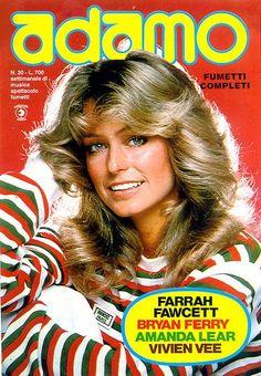 Farrah smiles on the cover of Adamo magazine, 1976.