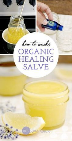 I have been making this all-purpose healing salve for years and it has become a staple in my medicine cabinet. It's made up of simple ingredients like coconut oil, olive oil, pure essential oils from Spark Naturals, and a splash of vitamin E to create an organic salve with Neosporin-like properties. A salve that will protect, disinfect AND moisturize! Believe me, this is one workhorse of a salve that you'll reach for over and over again. #naturalskincare #skincareproducts…